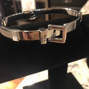 MK Silver and White Belt Buckle Bracelet